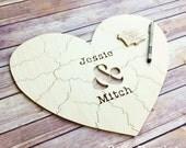 90 pc Wedding Guest Book Puzzle, guestbook alternative, wood HEART puzzle guest book Bella Puzzles™ rustic wedding, minimalist modern