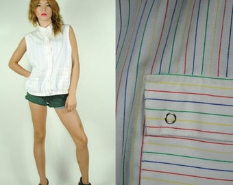 CLEARENCE 80% OFF Vintage 80s Sport RAINBOW Striped Button Up Vest. Size (M)