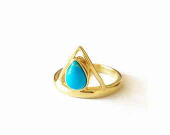 SALE!Turquoise Triangle Ring, stacking ring, turquoise ring,gold ring