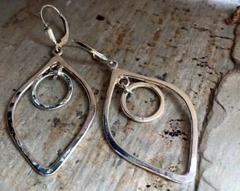Long Dangle Earrings, Sterling Silver Earrings, Hammered Earrings, Bohemian Earrings, Casual Earrings, Everyday Modern Earrings k#543