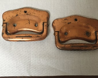 Vintage Pair of Copper plated Drawer Handles Pulls