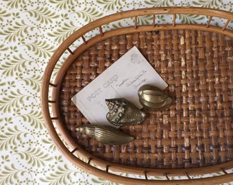 vintage wicker bamboo oval basket tray