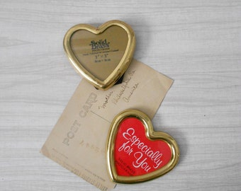 pair of vintage brass valentine's heart picture frame / standing photo display