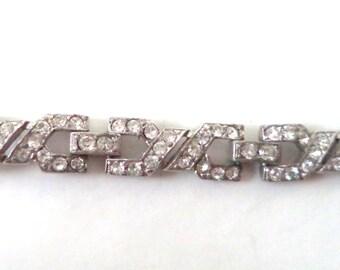 Antique Art Deco Pot Metal Rhinestone Bracelet