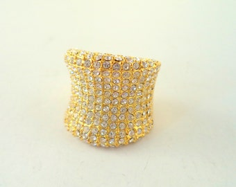 Wide Crystal Pave' Statement Ring Gold Plated Luxury Glamorous