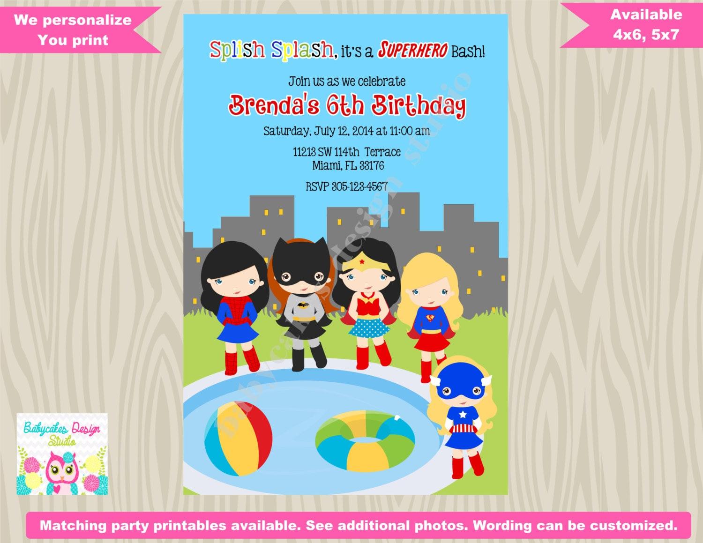 Girl Superhero Pool Party Invitation Invite Super Hero Pool