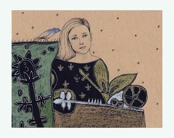 original art Woman flower illustration portrait figurative drawing people girl beauty