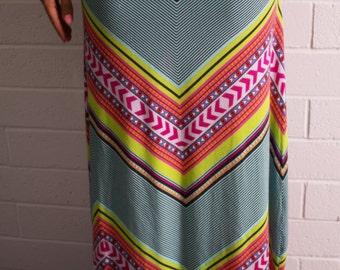 Chevron Maxi Skirt Fold Over Yoga Waistband Long Skirt