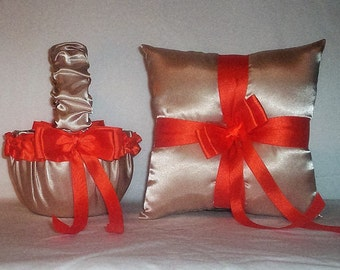 Champagne Satin With Orange Trim Flower Girl Basket And Ring Bearer Pillow