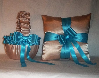 Champagne Satin With Turquoise Trim Flower Girl Basket And Ring Bearer Pillow