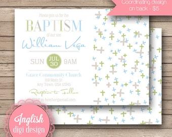 Geometric Cross Baptism Invitation, Cross Baptism Invite, Geometric Baptism Invitation, Boy Baptism Invite in Gray, Green & Blue
