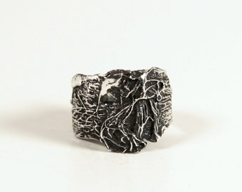 gauze collection ring (small) sterling silver handmade cast, anniemjewelry