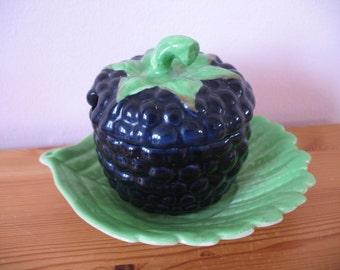 Vintage CarltonWare Jam Dish, Grapes with Saucer, Fruit Carlton Ware