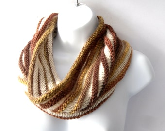 Hand knit striped cowl in 100% wool