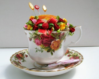 Tea cup and saucer pin cushion. Royal Albert bone china Old Country Roses cup and saucer.