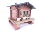 Music Box Swiss Chalet House Jewelry  Box Plays Fascination Waltz Vintage 60s