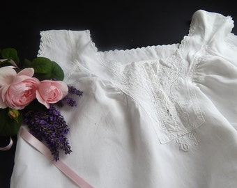 Vintage French Chemise Nightgown in Linen with Hand Embroidery