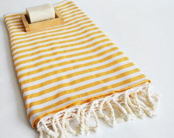 SALE 50 OFF/ Turkish Beach Bath Towel Peshtemal / Yellow Striped / Bath, Beach, Spa, Swim, Pool Towels
