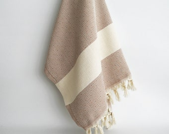 SALE 50 OFF/ BathStyle / Light Brown / Diamond Style Turkish Beach Bath Towel Peshtemal