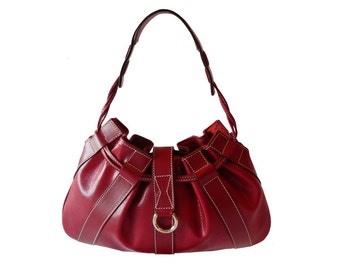 Authentic Lancel Paris Red Leather Drawstring Handbag Made in France