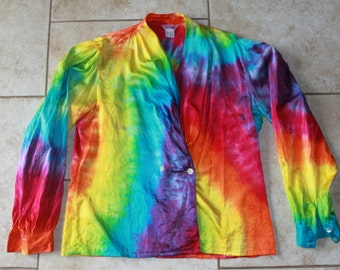 Tie Dye Silk Blouse upcycled