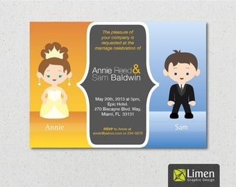 Funny Wedding Invitation Personalized With A Bride And Groom Illustration |  Printable Wedding Invitation | DIY