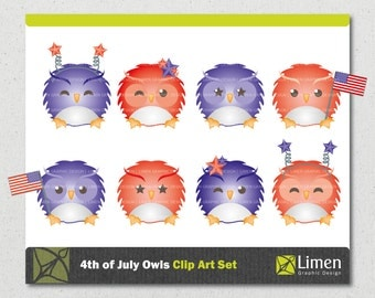 4th of July Clip Art, Owl Clip Art, Independence Day, Owl Clipart, Owl Graphics, Digital Owls, Patriotic Clip Art, Digital Scrapbooking