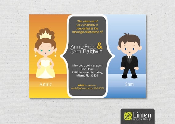 Funny Invitations For Wedding: Funny Wedding Invitation Personalized With A Bride And Groom