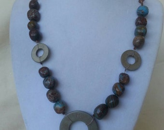 Brass and Stone Necklace - Upcycled Hardware Geek Jewelry
