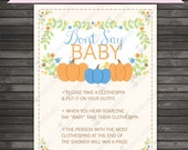 Little Pumpkin Baby Shower Don't Say Baby Game Printable - Blue Baby Shower Dont Say Baby Sign - Boy Baby Shower Clothespin Game
