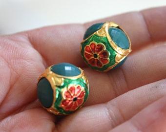 Green Gemstone Meena Beads  - Gemstone with Meena/Cloisonne beads (2) 20mm