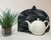 "Tea Cozy (Standard) - ""Dotted Leaves"" Black"