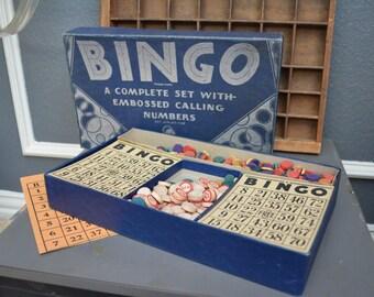 Vintage Bingo Board Game Bingo Cards Bingo Pieces Bingo Tokens Retro Mid Century Wooden Chips Milton Bradley Wooden Pieces Vintage Game Room