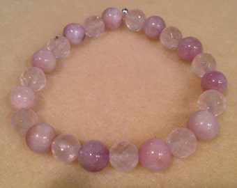 Kunzite & Rose Quartz Round 8mm Bead Stretch Bracelet with Sterling Silver Accent