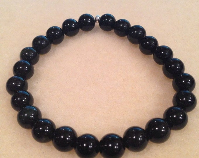Rainbow Obsidian 8mm Round Stretch Bead Bracelet with Sterling Silver Accent