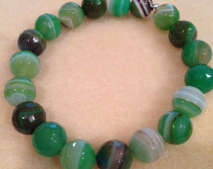 Green Apple Botswana Agate 10mm Faceted Round Bead Stretch Bracelet with Sterling Silver Accent