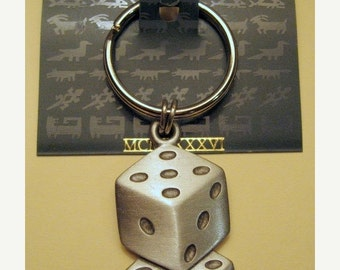Vintage JJ Jonette Jewelry Lucky Dice Key Ring// signed JJ Accessory// Unique Gift under 20 Made in the USA