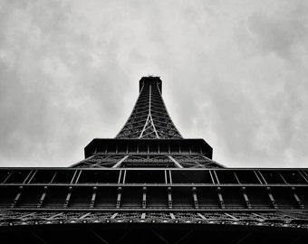 Eiffel Tower Black and White Photograph -- Paris, France