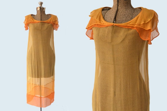 1920s Sheer Orange Silk and Dress size S