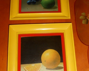Vintage 1970's Kitchen Wall Art Yellow Glass Framed Fruit Prints