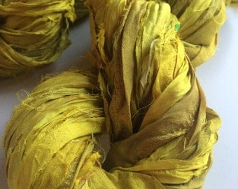 Sari Silk Ribbon, 200g, knitting ribbon, Lime yellow. Recycled Yarn, for jewelry making and arts and crafts.