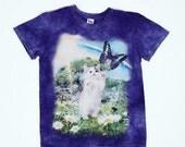 90's Kitten Attacking/Befriending Butterfly in a daisy meadow with rainbow purple tie dye T Shirt