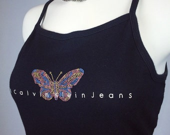 90's Calvin Klein Jeans Butterfly Cotton Mini Tank Dress // M - L