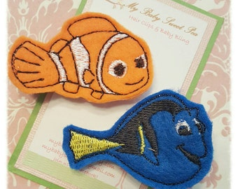 Girl hair clips - finding dory - girl barrettes