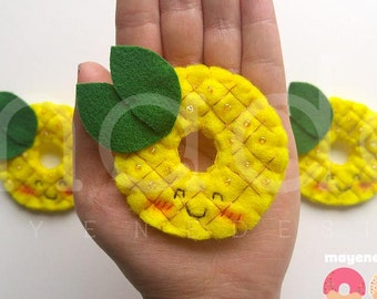 pineapple donut brooch with sprinkles, felt food pin