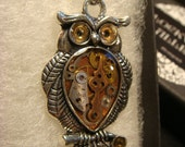 Steampunk Owl Necklace- Made with Real Watch Parts  (1973)