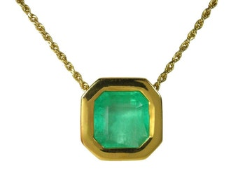Actress Inspired! 6.45 Carats Colombian Emerald & Gold Solitaire Necklace 14K, Gold Necklace,Dainty Necklace, Bridesmaids Gift