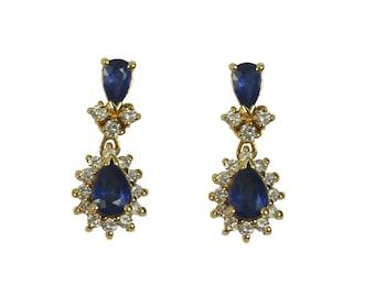1.40tcw Sapphire & Diamond Chandelier Earrings 14k, Yellow Gold Sapphire Earrings, Sapphire Diamond Studs, Sapphire Diamond Halo, June Gift
