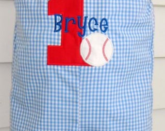 Custom monogram Boys baseball birthday shortall or longall. Blue gingham jon jon personalized with name