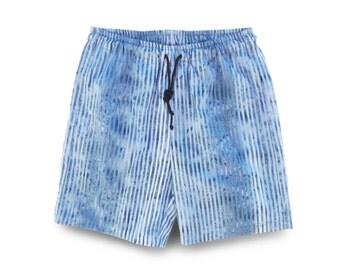Blue Stripe Short, Mens Short Blue, Mens Gift, Boho Blue Shorts, Mens Cotton Shorts,  Pull-on Short Blue